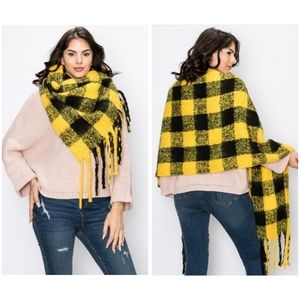 Plaid Pattern Scarf | Black and Yellow | 24x79